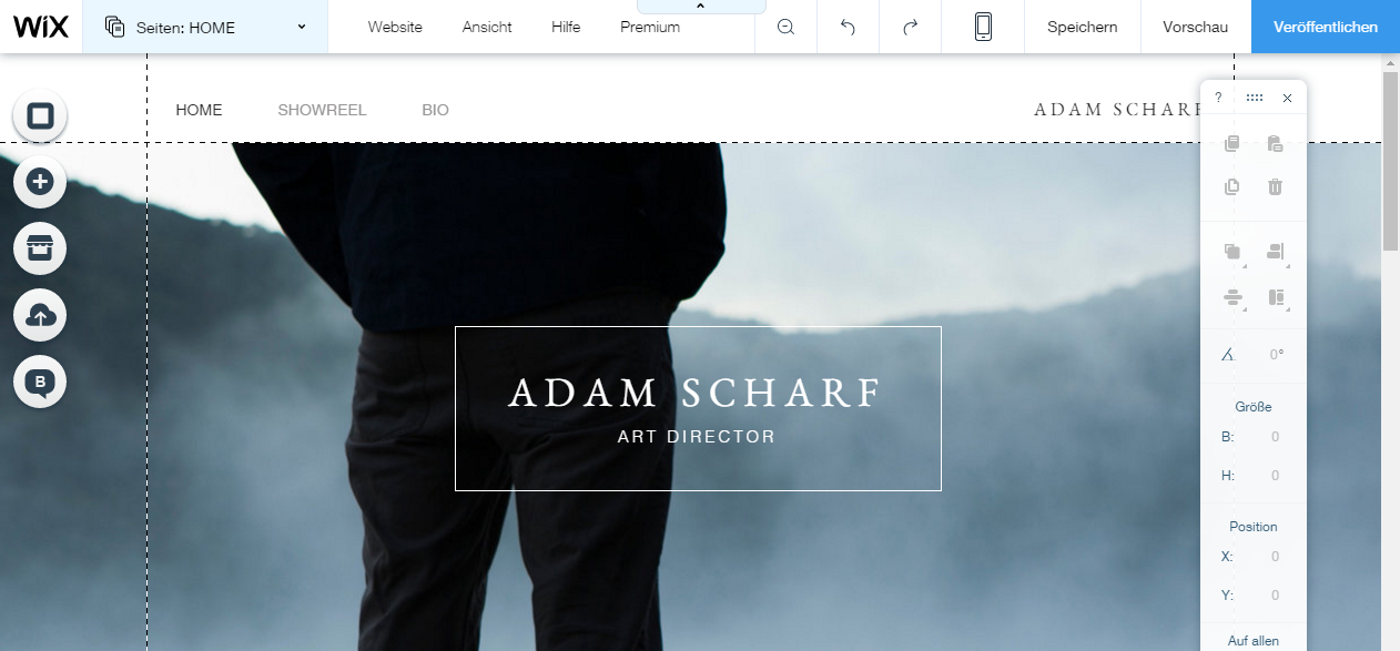 Screenshot des Wix Homepage Baukasten